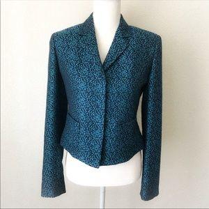 Elie Tahari Blue Tweed Pattern Jacket Blazer Sz 6